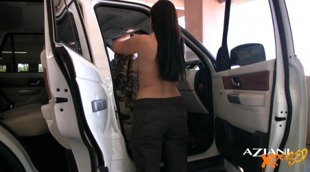 Beautiful brunette, Aria Giovanni, gets changed in the car into something more revealing and flashes her big boobs while doing it! from Aziani Xposed