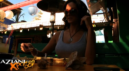Beautiful busty brunette, Ava Addams, gets into the fun of public flashing while sitting at the restaurant talking about her hot sexual exploits! from Aziani Xposed