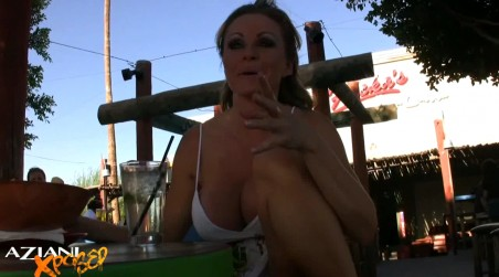 Gorgeous blonde, Dyanna Lauren, sits out on a restaurant patio with her legs spread open flashing her pussy and talks about her daily masturbation routine! from Aziani Xposed