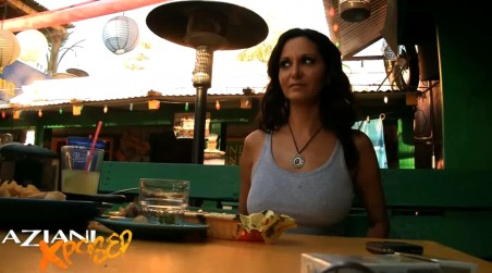 Sexy brunette babe, Ava Addams, slips off her panties while sitting on the restaurant patio and gets so turned on that she decides to masturbate then and there! from Aziani Xposed